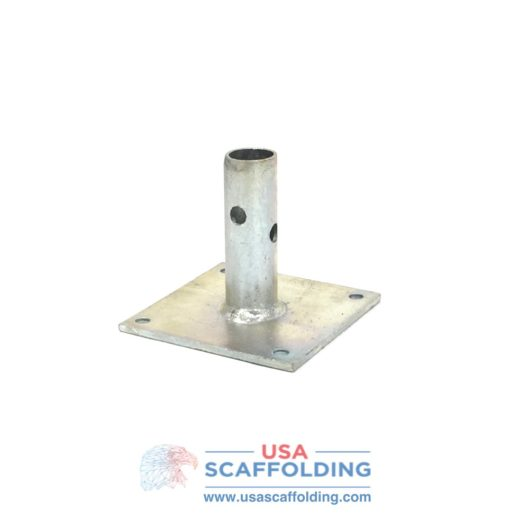 "5""X5"" base plate with 1-7/16"" Stem for Safeway Style Scaffolding Frames"