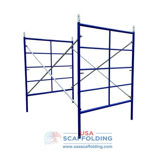 Blue Safeway style set of double box triple ladder scaffolding frames
