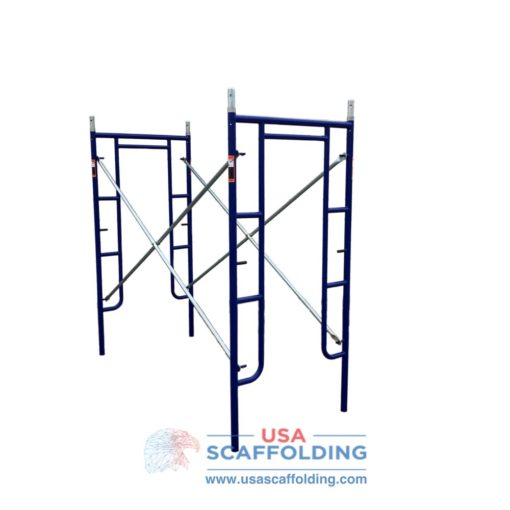 "Blue Safeway style set of walk through scaffolding frames (3'X6'4"")"