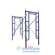 "Blue Safeway style set of walk through scaffolding frames (42""X6'4"")"