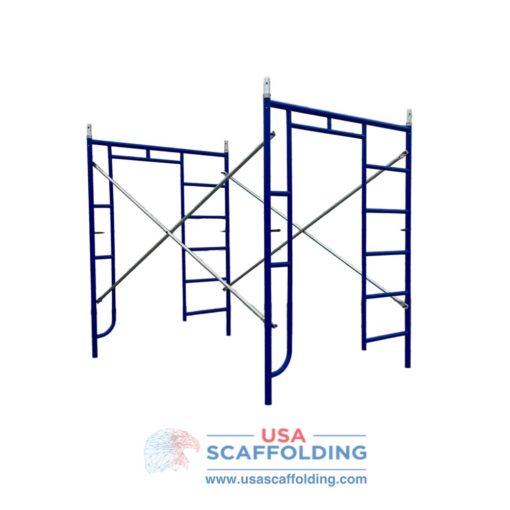"Set of blue Safeway Style Walk Thru/Ladder combination scaffolding frame set (5'X6'4"")"